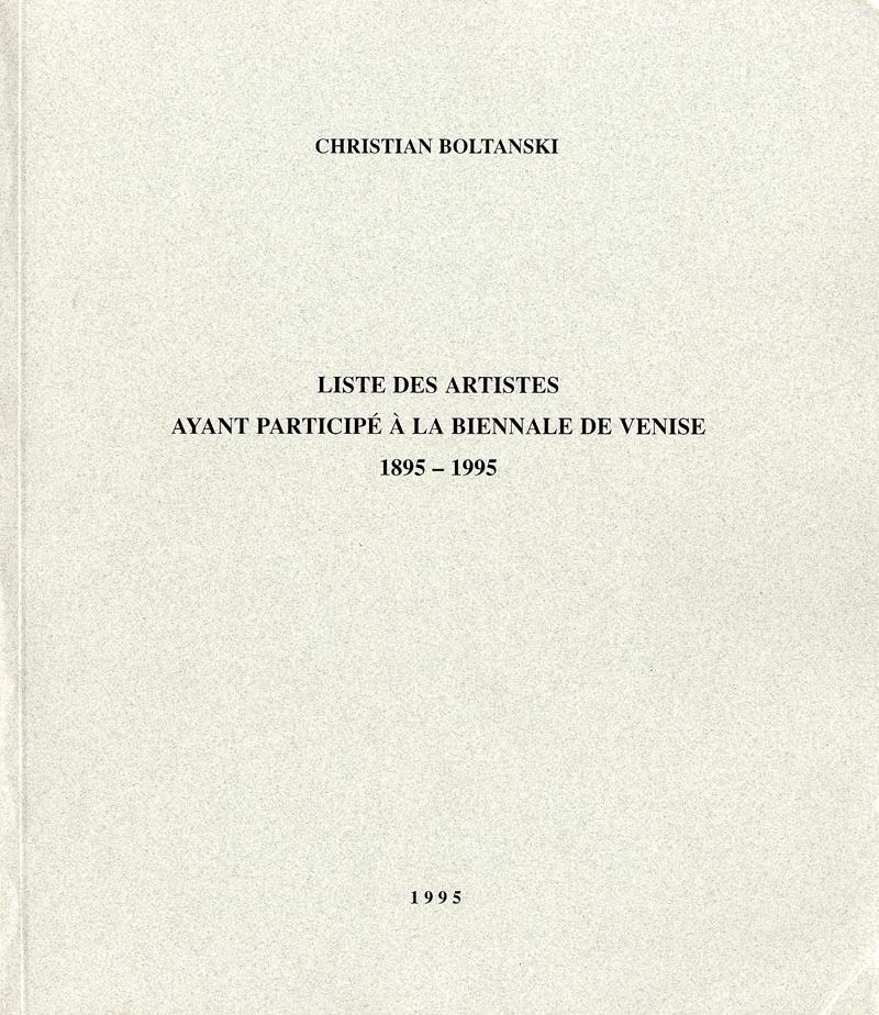 Liste des Artistes ayant participé à la Biennale de Venise 1895-1995