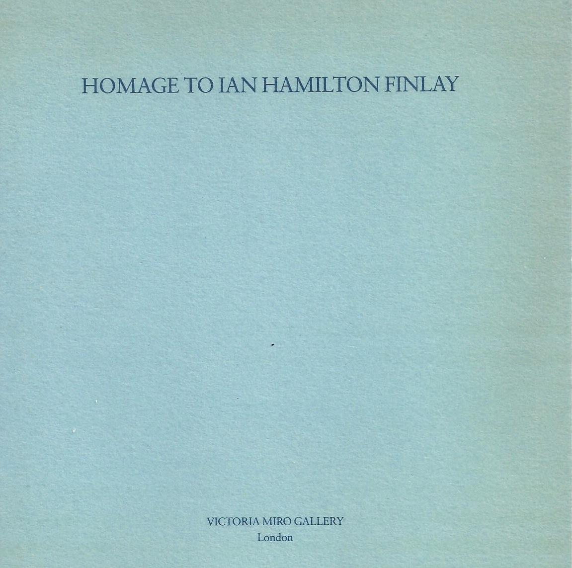 Homage to Ian Hamilton Finlay