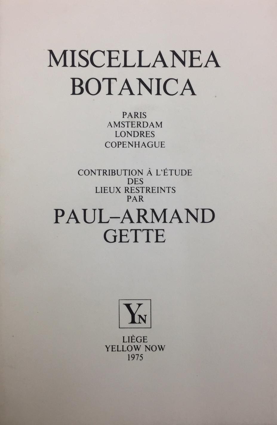 Miscellanea botanica